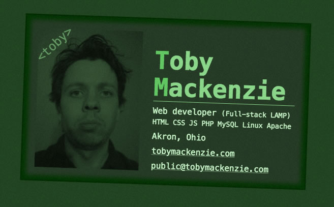 Toby's web based business / intro card
