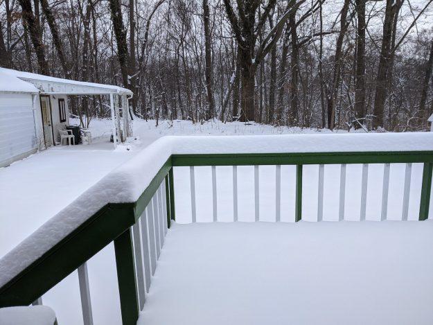 deep snow on deck and yard