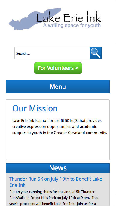 Lake Erie Ink mobile home page